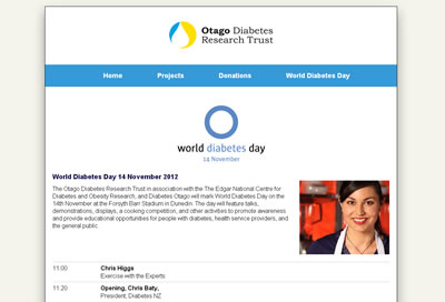 Design of Otago Southland Diabetes Research Trust website
